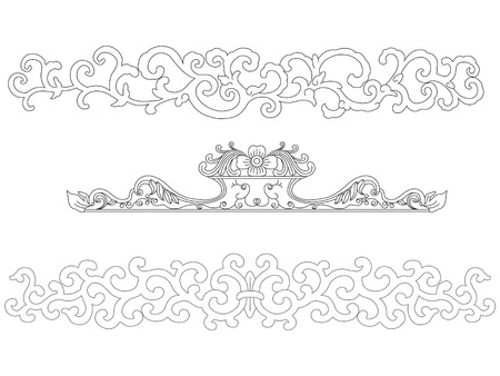 border silhouette: Chinese Art frame Elements