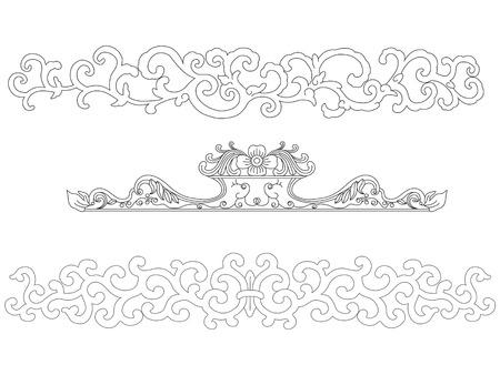 L'art chinois cadre éléments  Vecteurs