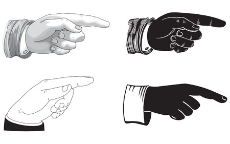 A line drawing of a pointing hand