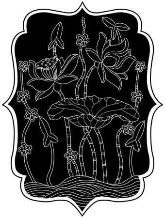lotus silhouet Stock Illustratie