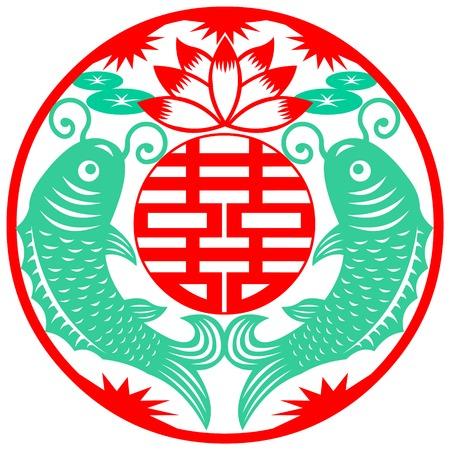 simbolo uomo donna: Un papercut di nozze simbolo cinese.