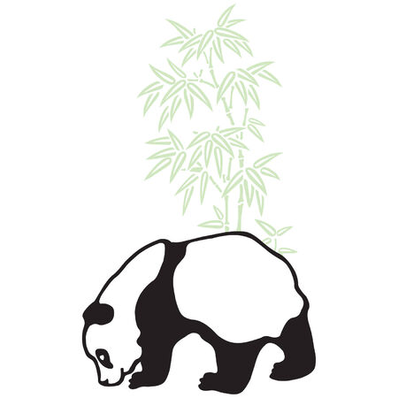 wwf: Panda and bamboo silhouettes. Illustration