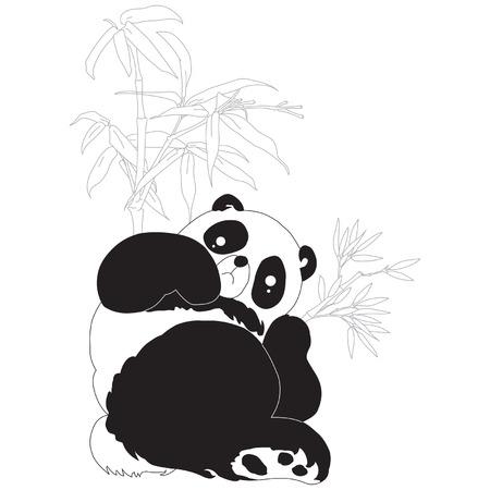 Panda and bamboo silhouettes. Vector