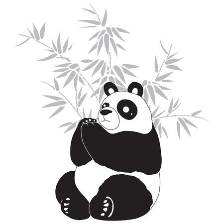 Panda and bamboo silhouettes. Illustration