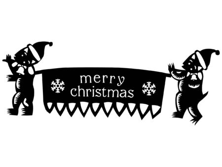 shadowgraph: A paper-cut of christmas elements for design Illustration