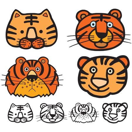siberian tiger: A cute tiger cartoon illustration.