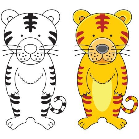 tigre caricatura: Un tigre lindo dibujo animado de ilustraci�n.