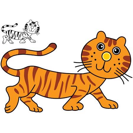 tigre caricatura: Un tigre cute dibujo animado de ilustraci�n.  Vectores