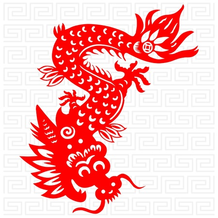 Traditional paper cut of a dragon. Stock Vector - 10730965