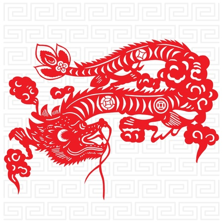 Traditional paper cut of a dragon. Stock Vector - 10730963