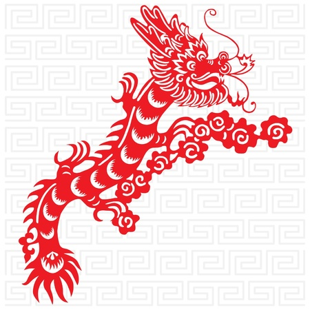 Traditional paper cut of a dragon. Stock Vector - 10730967