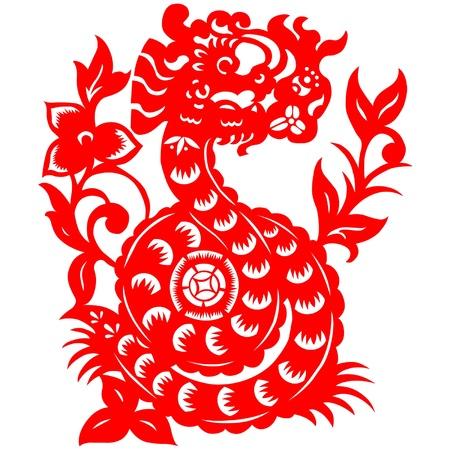 paper cut: Traditional paper cut of a dragon.