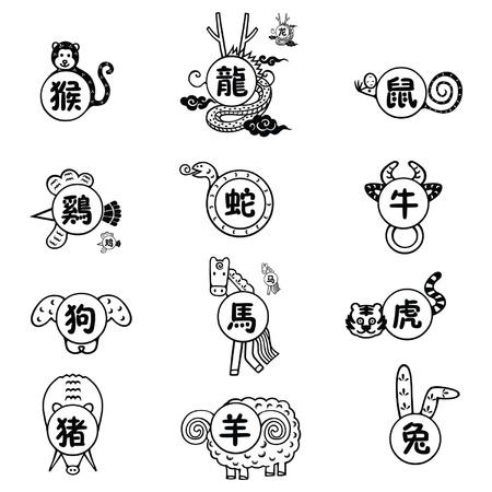 De 12 Chinese tekens van de dierenriem