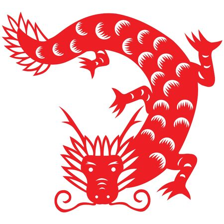 Traditional paper cut of a dragon.