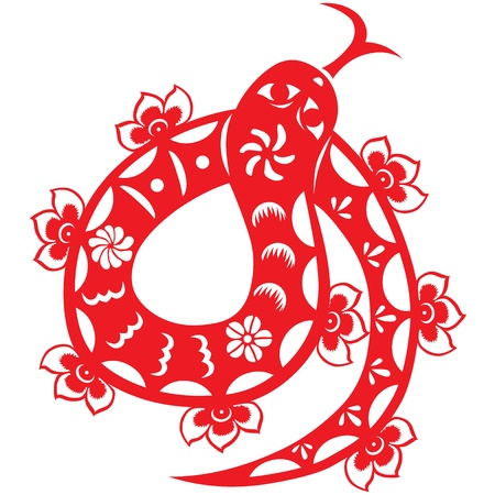 craft product: Traditional paper cut of a snake   Illustration