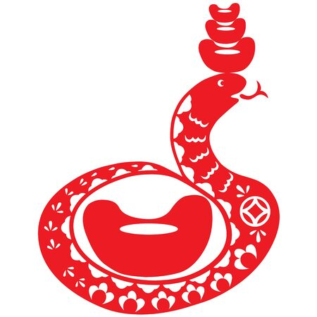 Traditional paper cut of a snake Stock Vector - 16258738