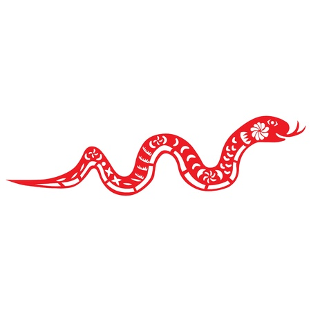 Traditional paper cut of a snake   Vector