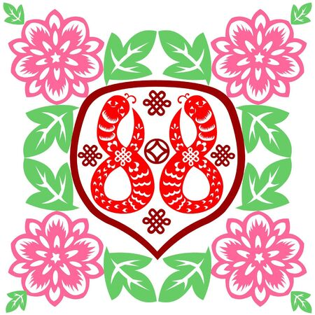 craft product: Traditional paper cut of a snake.