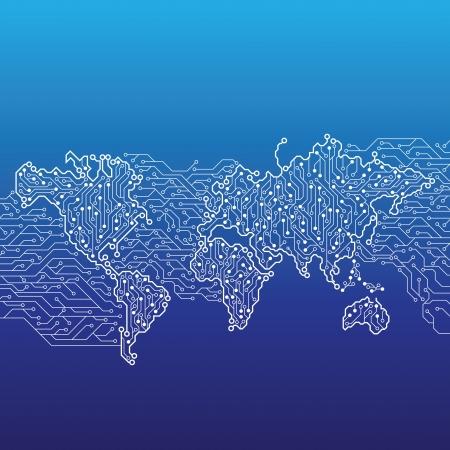 fibra óptica: Mapa del mundo conectados por líneas de circuito de mesa.