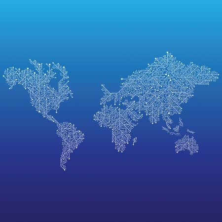 World map connected by Circuit board lines. Vector