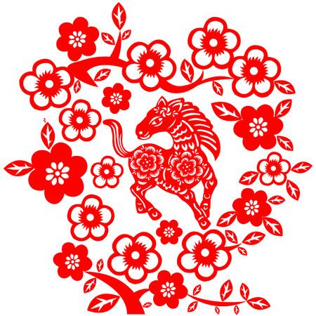traditionally: Chinese New Year Horse Illustration