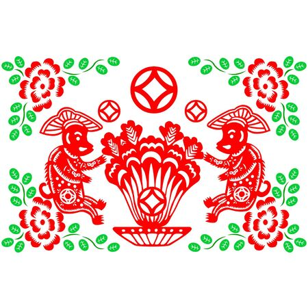 traditionally chinese: Traditional paper cut of a Monkey