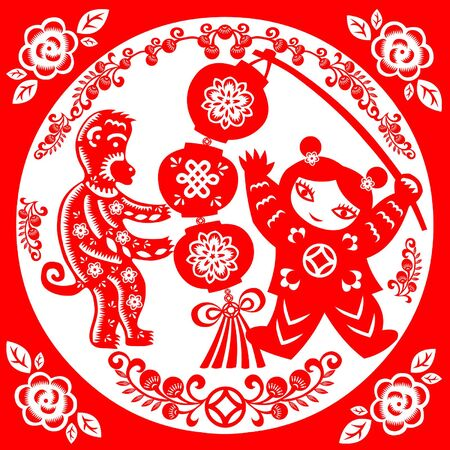 chinese ethnicity: Traditional paper cut of a Monkey