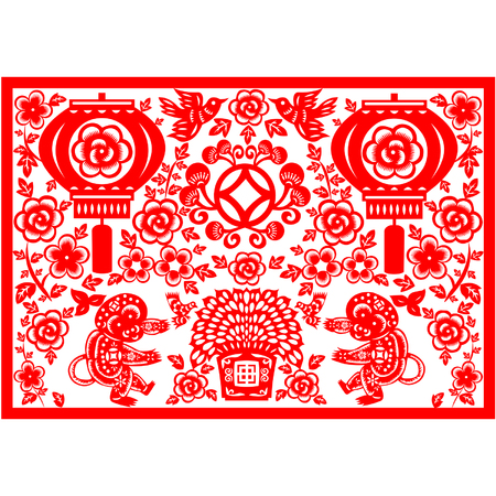 chinese zodiac sign: Traditional paper cut of a Monkey
