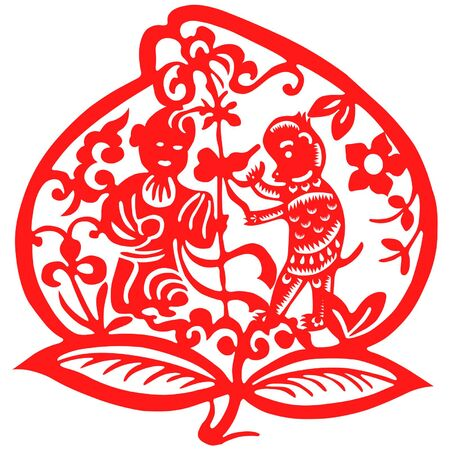 chinese ethnicity: Traditional paper cut of a Monkey.