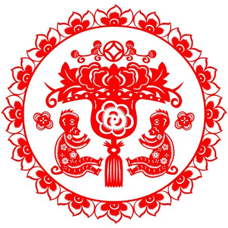 traditionally chinese: Traditional paper cut of a Monkey.