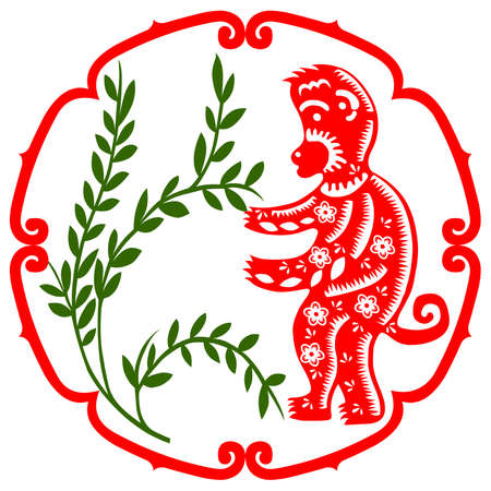 papercut: Traditional paper cut of a Monkey.