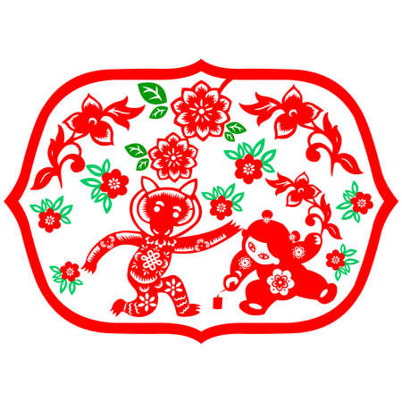chinese astrology: Traditional paper cut of a Monkey.