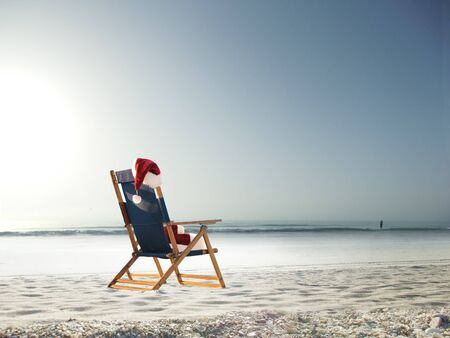 Santa at the beach went swimming photo