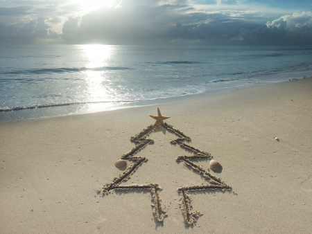 Christmas tree drawn in sand at the beach  Holiday concept  photo