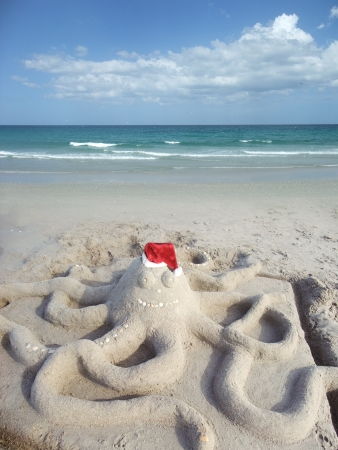 Sand made octopus at the beach in Santa hat photo