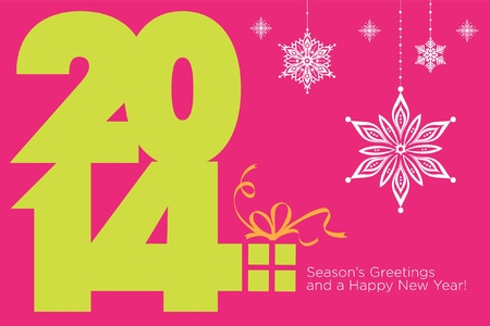 Happy new 2014 year  Seasons Greetings  Colorful, stylish design  Vector EPS 8 illustration