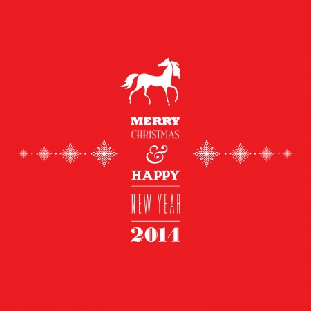 Merry Christmas and Happy new 2014 year  Greeting card  Elegant, stylish white 2014 horse symbol and greeting text on bright red background  Vector EPS 10 illustration  Vettoriali