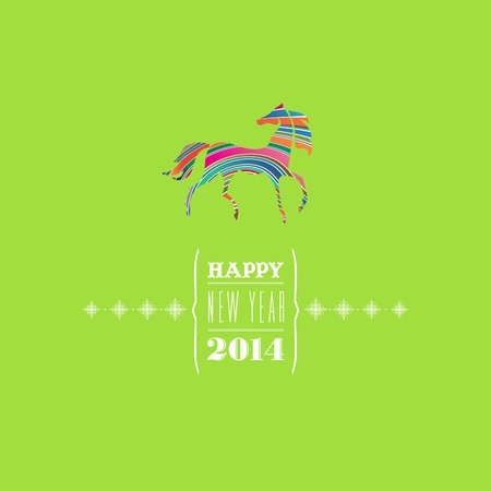 Happy new 2014 year  Greeting card  Colorful, stylish 2014 horse symbol on bright green background  Vector EPS 8 illustration