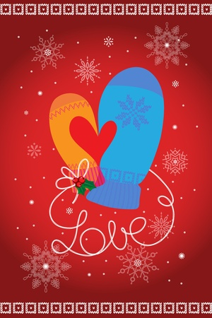 His and Her mittens thumbs make heart symbol  Red background  Seasons Greetings  Vector EPS 8 illustration
