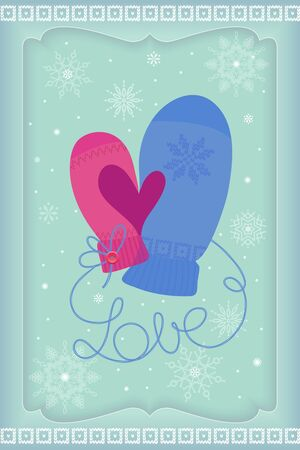 His and Her mittens thumbs make heart symbol  Seasons Greetings  Vector EPS 8 illustration