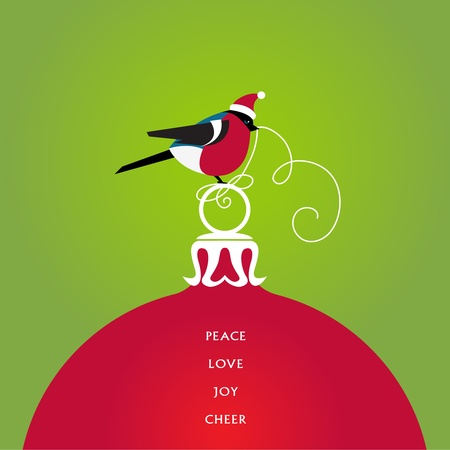 A bird in a cute red hat seats on a christmas ball  Seasons Greetings  Vector EPS 8 illustration