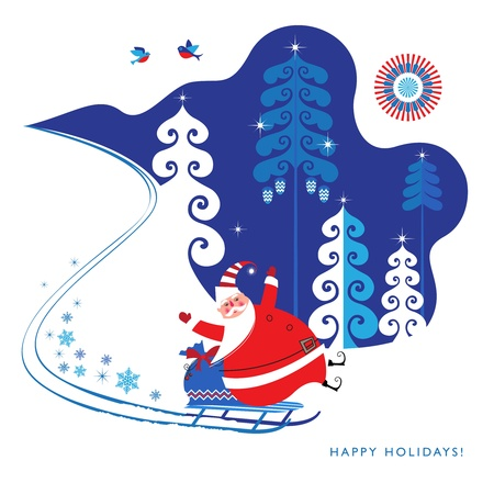 snowy hill: Cute Santa Claus on a sled slides down a snowy hill bringing Christmas gifts  Bright, vivid colors  Seasons Greetings  Illustration  Illustration