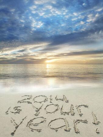 2014 es su año escrito en la arena en la playa Foto de archivo - 24815114