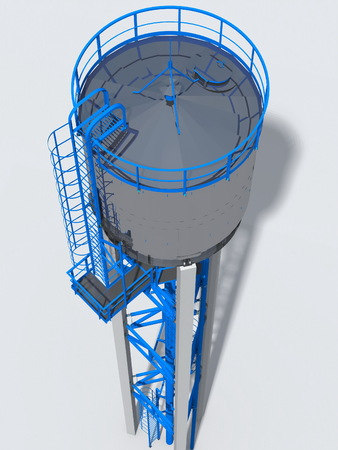Shiny water tower out of steel. 3D rendering of the model.