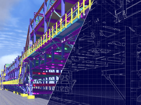 3D rendering and blueprint. The construction of flyovers of metal structures and drawing on a blue background.