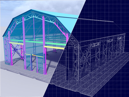 3d rendering and blueprint the project hangar warehouse garage 3d rendering and blueprint the project hangar warehouse garage with glazing drawing malvernweather Choice Image