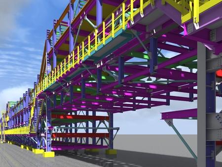 Model metal frame trestle oil building. 3d rendering.