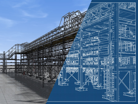 Shiny overpass for cables, gas and oil pipelines from columns, beams and ties. Architectural, engineering and construction hair dryer. 3D rendering and blueprint.
