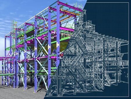 Wiedergabe 3D und Zeichnen auf einem blauen Hintergrund von Metallgebäuden. Technischer Hintergrund. Der architektonische Hintergrund.