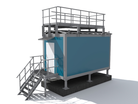 3D rendering. The hardware building of container type. Фото со стока